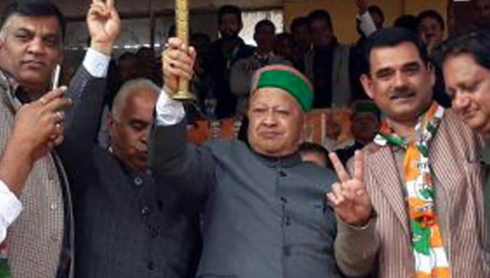 Chief minister Virbhadra Singh at a campaign rally in Arki, Shimla.