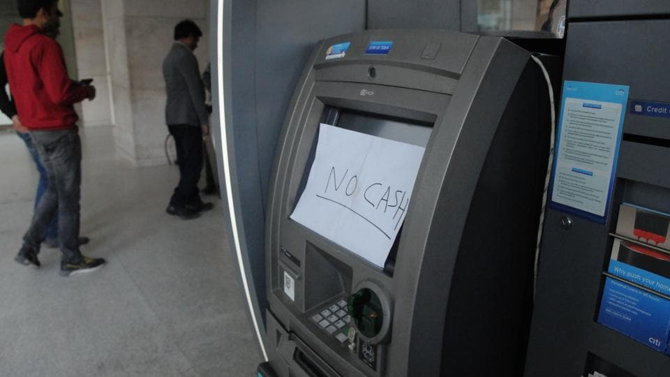 An ATM machine in Park Centra Building in Gurgaon on February 6, 2017 is without cash, three months after demonetisation.