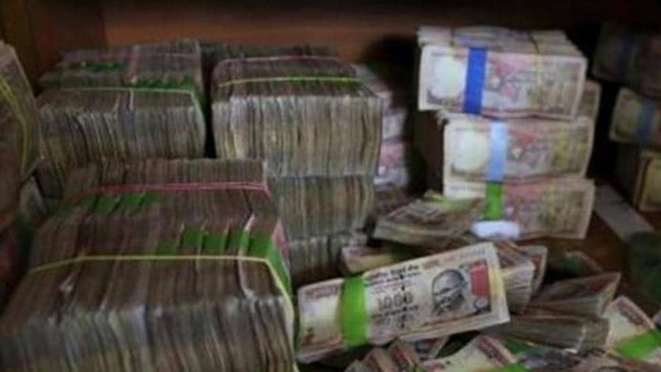 Discontinued currency notes of 1,000 denomination after they were deposited at a bank in Bengaluru.
