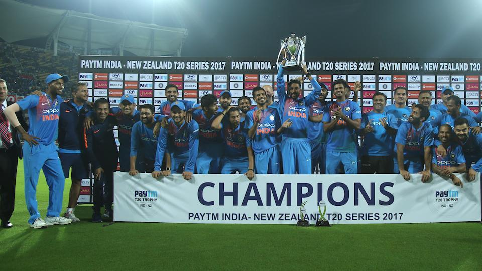 India beat New Zealand by six runs in the Thiruvananthapuram T20 to win the three-match series 2-1.   (BCCI )