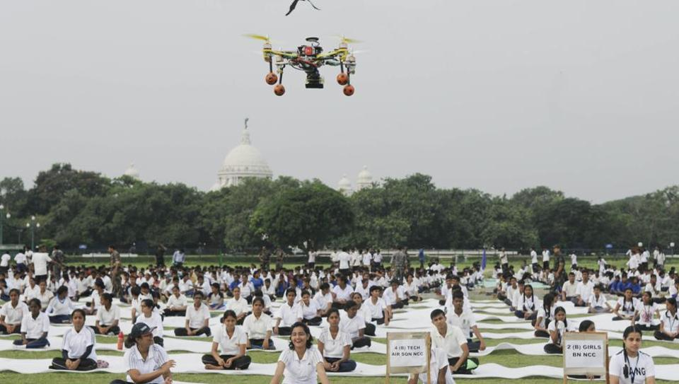 A drone employed to keep a watch over NCC cadets and school children during a yoga session on the third International Yoga Day at Kolkata Maidan earlier this year.