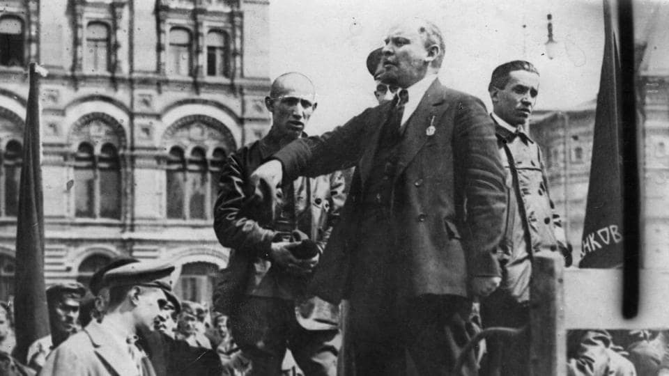 Vladimir Ilyich Lenin gives a speech from the back of a vehicle in a Russian street. A century to this week, Russia saw the culmination of the Bolshevik and Lenin led October Revolution –one of two events part of the larger Russian Revolution of 1917-- which changed the world's political allegiances and ushered in the dawn of the first Communist state in history. On its centenary, a look at how the revolution unfolded. (Hulton Archive / Getty Images)