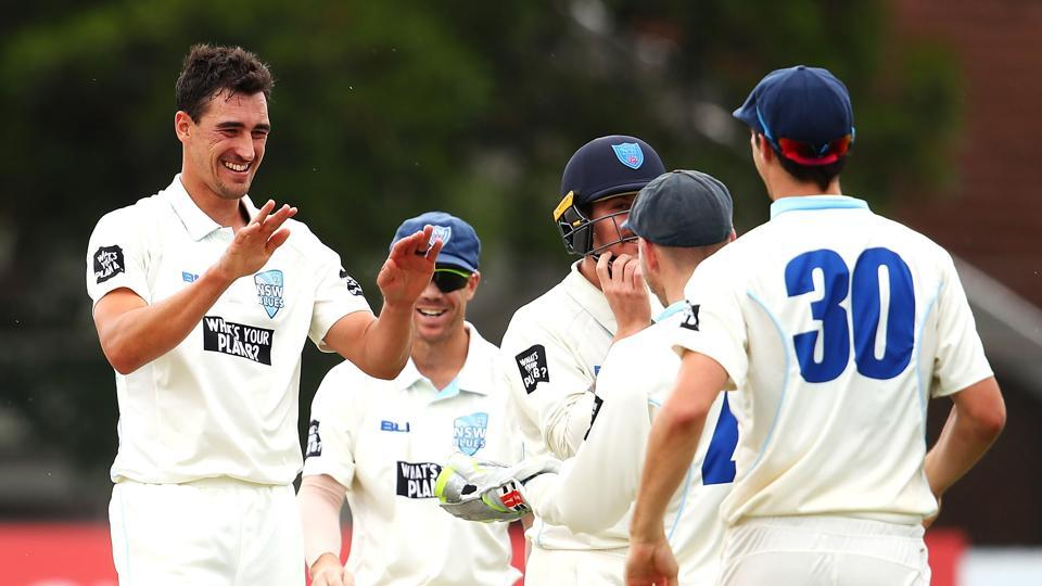 Mitchell Starc picked up a double hat-trick in the Sheffield Shield game between New South Wales and Western Australia as the left-arm pacer sounded out a warning to the England cricket team ahead of the Ashes series.