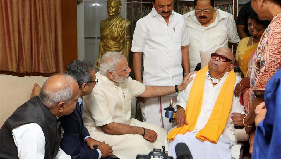 Prime Minister Narendra Modi visiting the ailing DMK President M Karunanidhi, Chennai, November 6, 2017