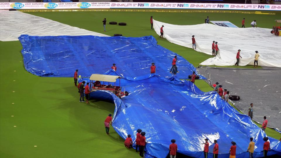 Playing spoilsport, rain reduced the decisive match of the series and first ever International match at Greenfield Stadium to eight overs per side.  (PTI)