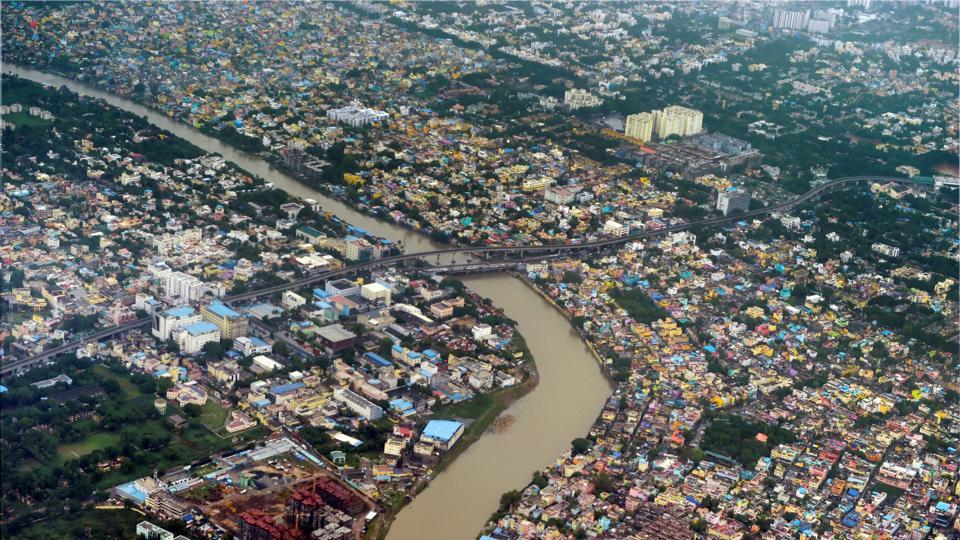 An aerial view of the Adyar river after heavy rains, in Chennai.