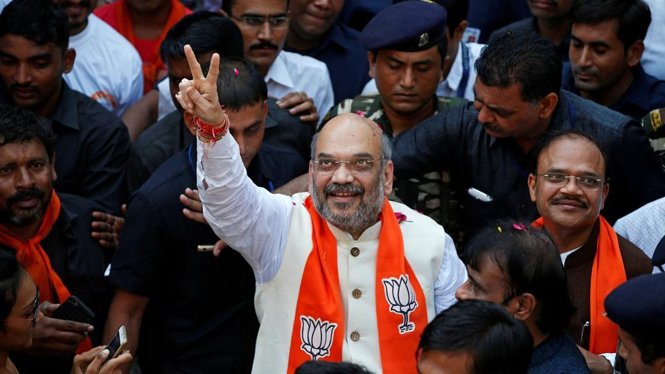 BJP president Amit Shah begins a door-to-door campaign for the upcoming Gujarat elections, in Ahmedabad.