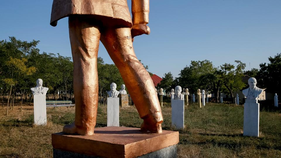 Monuments to Vladimir Lenin stand at the museum of social realism in Frumushika-nova, Ukraine. Many of the memorials have been toppled or removed since the Soviet Union was dissolved in 1991 but others remain, reflecting a debate in Russia about his legacy. (Gleb Garanich / REUTERS)