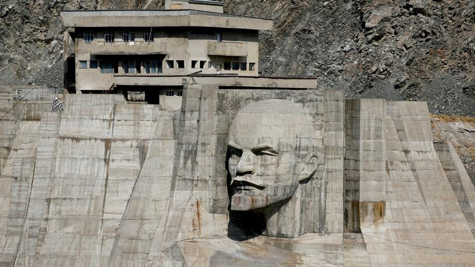 A bas-relief depicts Soviet state founder Vladimir Lenin on a dam in Talas region, Kyrgyzstan. A century after the Russian Revolution, the influence of its leader Vladimir Lenin has waned but his image remains on monuments built across the former Soviet Union as part of a cult of personality. (Shamil Zhumatov / REUTERS)