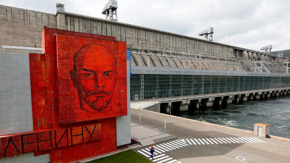 A cobalt glass mosaic panel with a portrait of Soviet state founder Vladimir Lenin is seen at the Krasnoyarsk hydro electric power station, second largest in Russia, located outside the Siberian city of Krasnoyarsk, Russia. Many of the memorials have been toppled or removed since the Soviet Union was dissolved in 1991 but others remain, reflecting a debate in Russia about his legacy. (Ilya Naymushin / REUTERS)