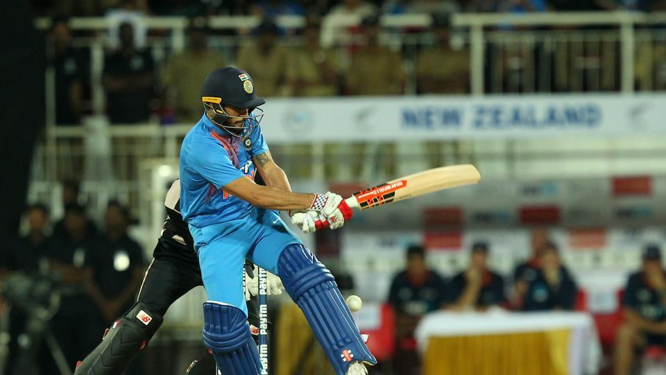 Manish Pandey top-scored for India with 17 before falling to a spectacular piece of fielding by Santner. (BCCI )