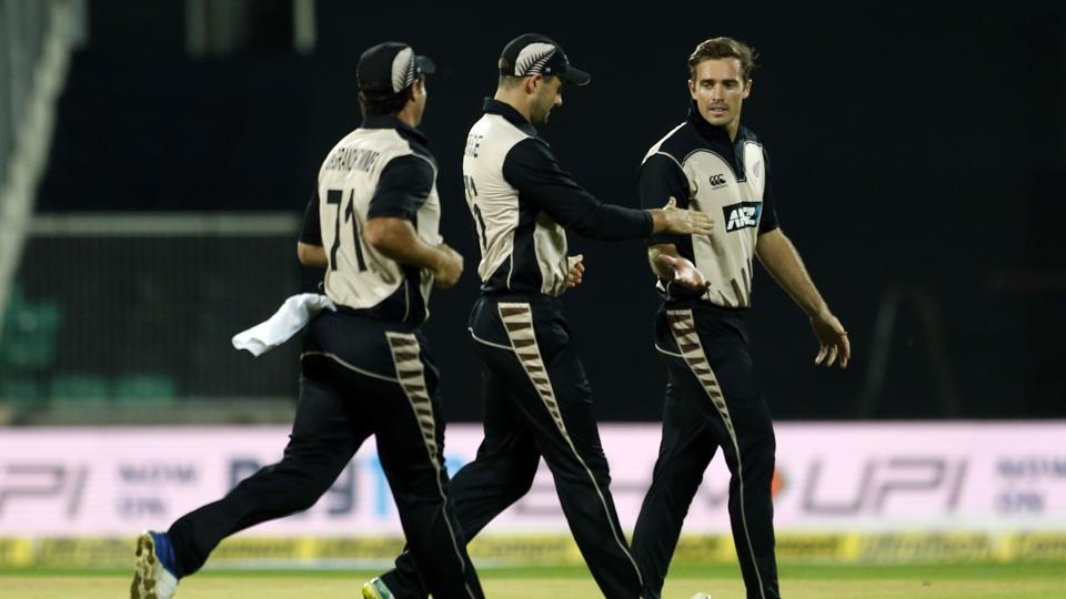 Tim Southee wrecked the Indian top order in his first over, dismissing openers Shikhar Dhawan and Rohit Sharma off successive deliveries with Mitchell Santner taking both catches. (AP)