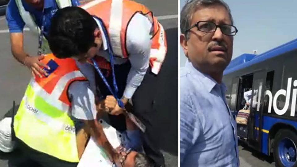 An IndiGo staffer manhandled a passenger at Delhi's Indira Gandhi International Airport.