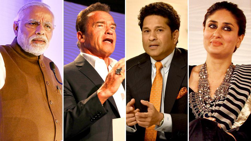Speakers at the Hindustan Times Leadership Summit -- Prime Minister Narendra Modi, Hollywood actor Arnold Schwarzenegger, former cricketer Sachin Tendulkar and Bollywood star Kareena Kapoor Khan . (HT File Photo)