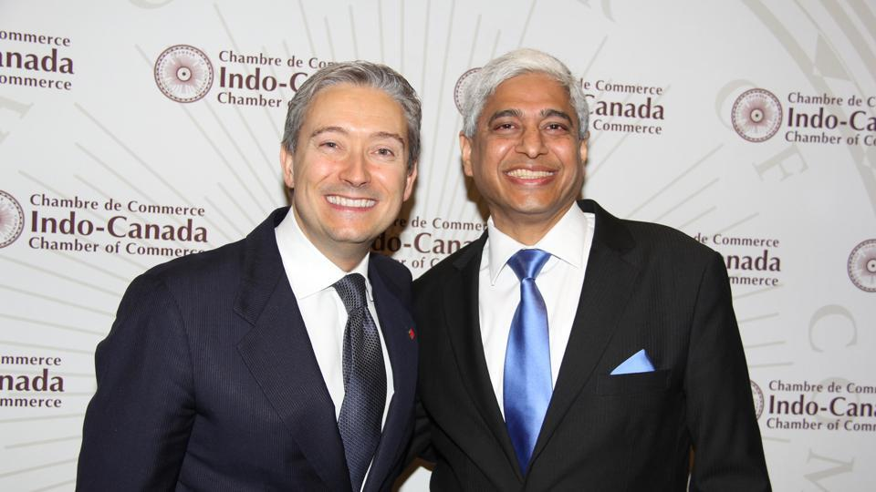 Canada's minister of international trade François-Philippe Champagne with India's high commissioner to Ottawa Vikas Swarup at the Canada India Business Symposium this summer.