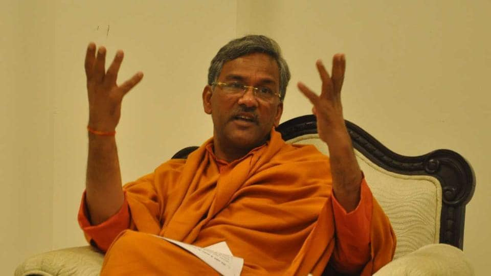 Chief minister Trivendra Singh Rawat speaks to HT during the interview at his residence in Dehradun.