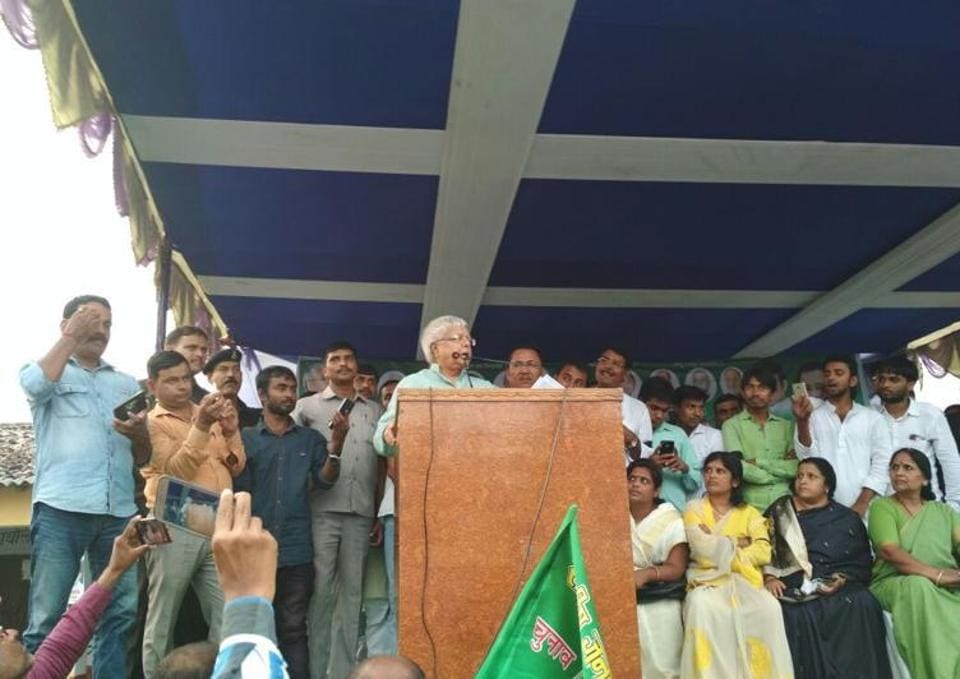 RJD chief Lalu Prasad addressing a gathering at Hajipur in north Bihar on Wednesday.