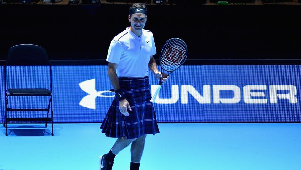 Not one to be outdone, Roger Federer played one game whilst wearing a kilt!  (Getty Images)