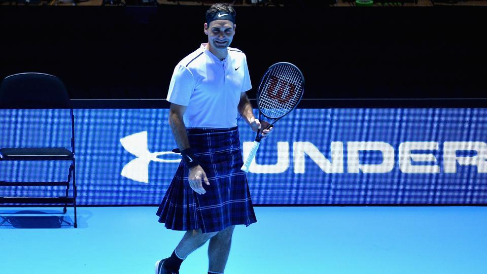 Roger Federer wore a 'kilt', the traditional Scottish attire during an exhibition tennis match against Andy Murray.