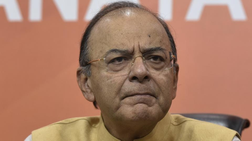 Finance minister Arun Jaitley addresses a press conference on the eve of the first anniversary of demonetisation at BJP headquarters in New Delhi on Tuesday.