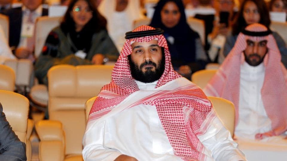 Saudi Crown Prince Mohammed bin Salman attends a conference in Riyadh, Saudi Arabia.