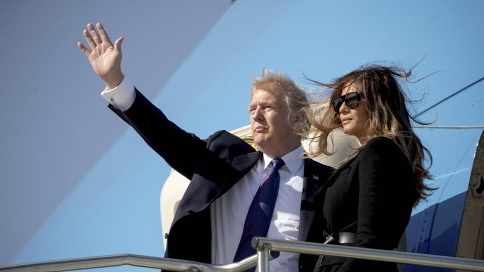 US President Donald Trump and first lady Melania Trump board Air Force One at Osan Air Base in Pyeongtaek, South Korea, on Wednesday to travel to Beijing.