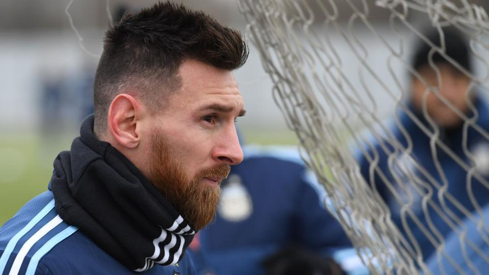 Argentina forward Lionel Messi takes part in a training session in Moscow.