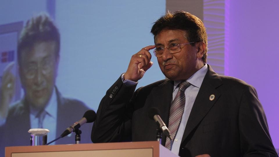 Former Pakistan President Pervez Musharrraf during an address at the Hindustan Times Leadership Summit 2012. (Virendra singh Gosain/HT File Photo)