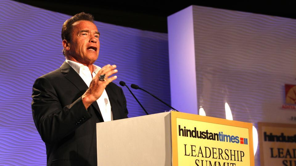 Hollywood actor and activist Arnold Schwarzenegger speaks during an HTLS session 'Muscle beach to Hollywood to governor of California: A wondrous, surreal trip?' in 2014. (Ajay Aggarwal/HT File Photo)