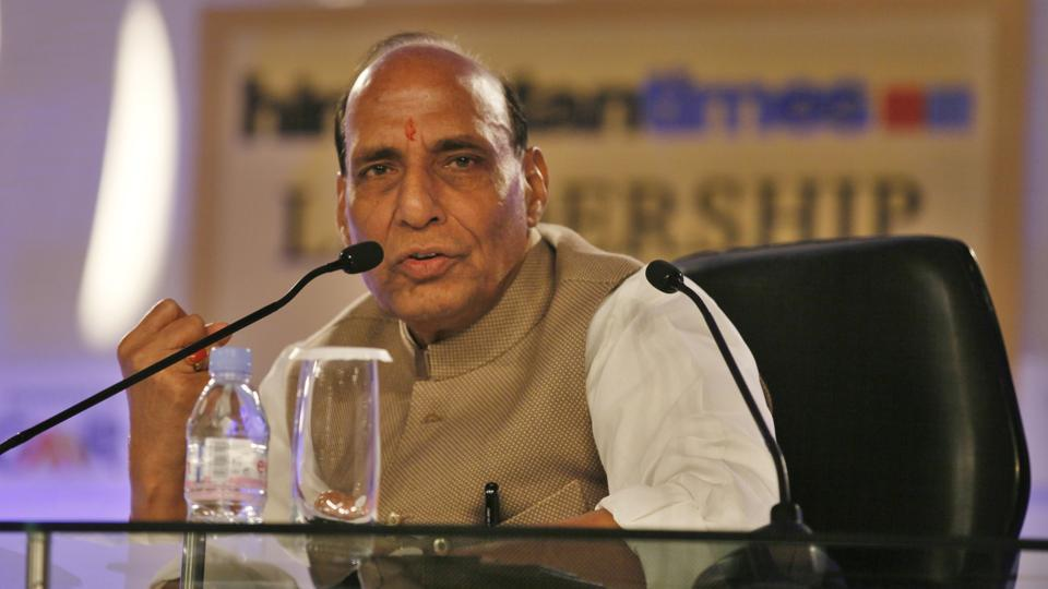 Union home minister Rajnath Singh on HTLS session 'Hitting home: Why securing India is a difficult job'. (Raj K Raj/HT File Photo)