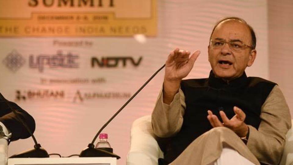 Finance Minister Arun Jaitley speaks at the Hindustan Times Leadership Summit in Delhi on December 2, 2016.