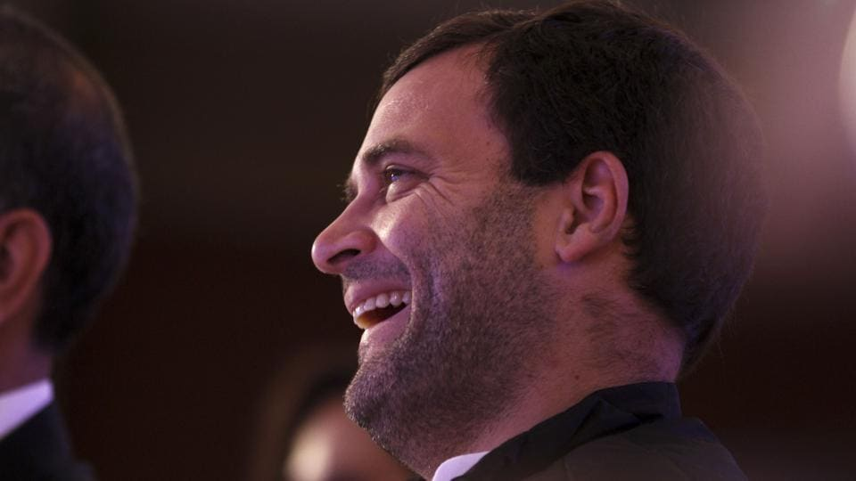 Congress vice-president Rahul Gandhi laughs during the Hindustan Times Leadership Summit 2016.  (Virendra Singh Gosain/HT FIle Photo)
