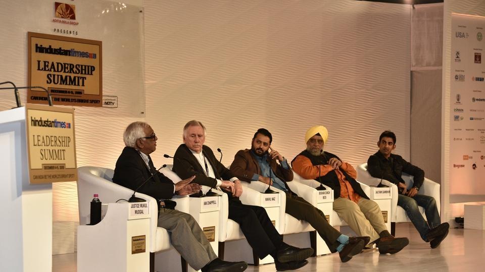 A panel of Justice Mukul Mudgal, former Australia cricket team captain Ian Chappell, Indian cricket team captain Bishan Singh Bedi and Gautam Gambhir during a session on 'Can BCCI be professionalized?' in 2015.  (Gurinder Osan/HT File Photo)