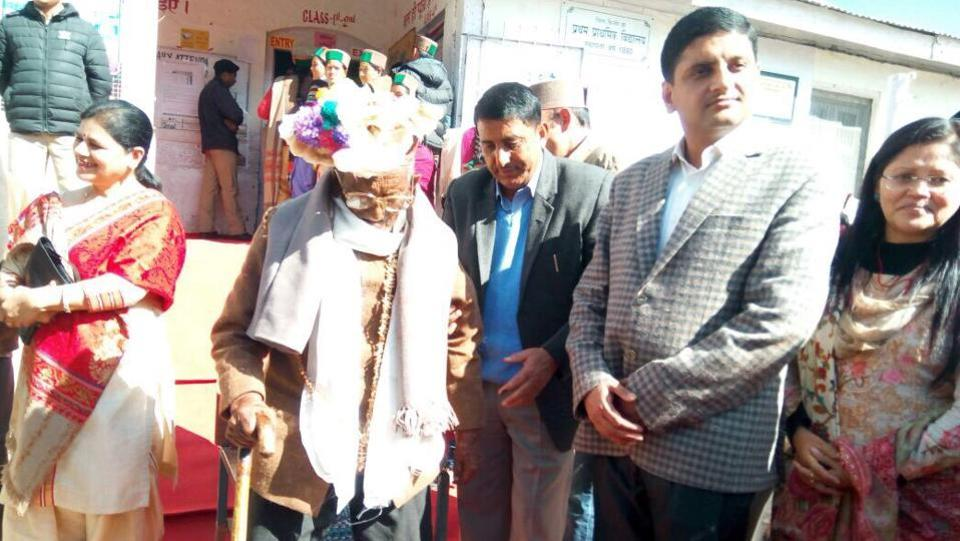 Country's first voter Shyam Saran Negi casts his vote at Kalpa polling station.