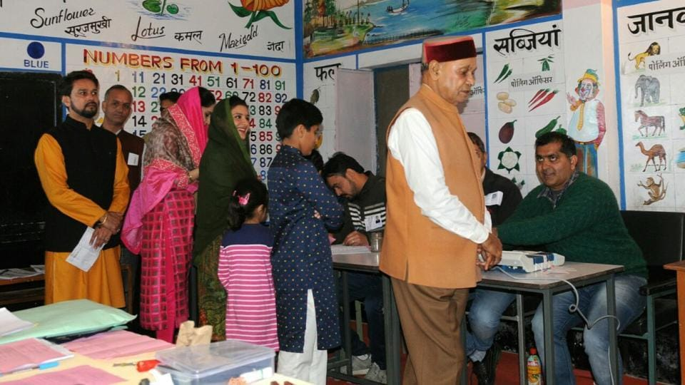 BJP's Prem Kumar Dhumal casting his vote during the Himachal elections at Samirpur near Hamirpur on Thursday.