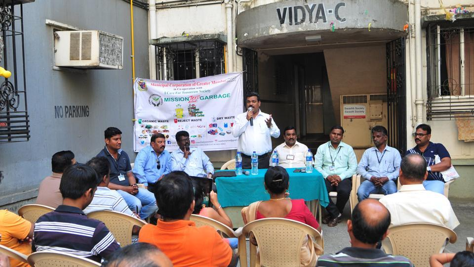 A day-long awareness programme was conducted in the society to explain the process of waste segregation.