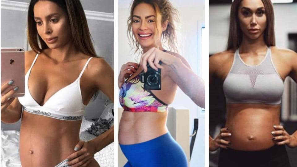 (From left) Sarah Stage, Emily Skye and Chontel Duncan went viral for their pregnancy workouts.