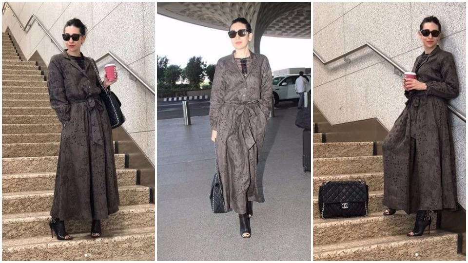 With her latest airport look, actor Karisma Kapoor showed that a feminine dress can be travel-friendly.