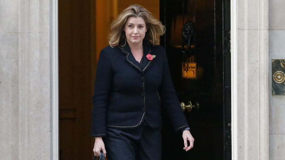 Britain's newly appointed International Development Secretary, Penny Mourdant leaves 10 Downing Street in London on Thursday.