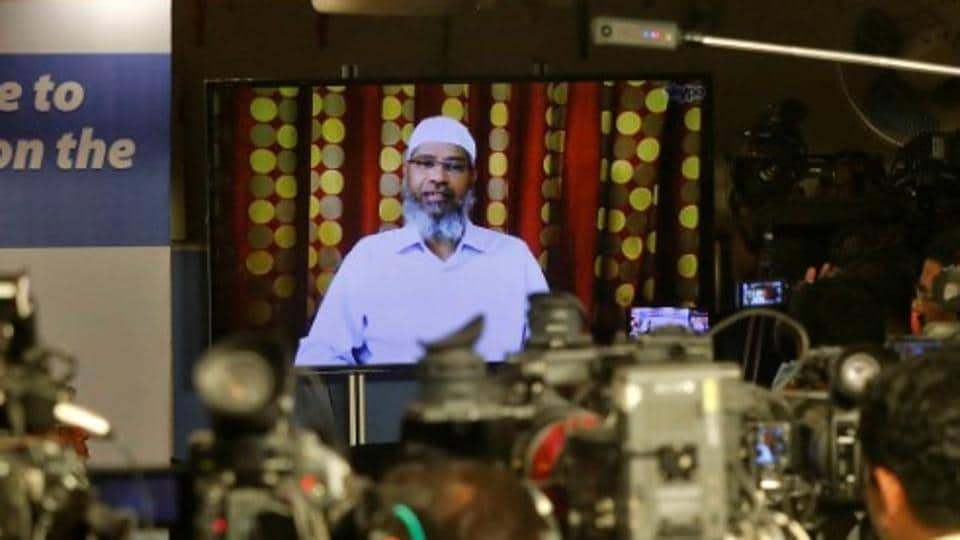 Zakir Naik, an Indian Islamic preacher and founder of Islamic Research Foundation, speaks to the media via a video conference in Mumbai, in July 2016.