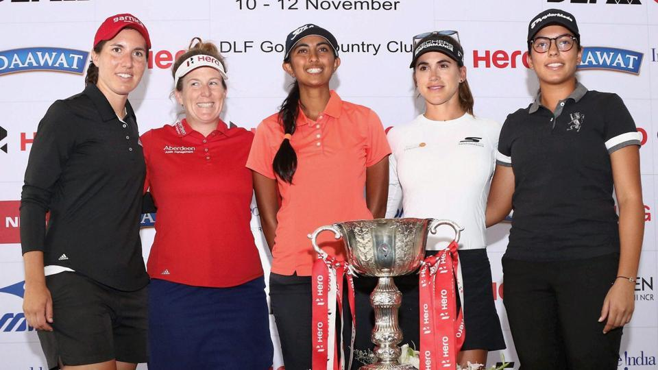 Carlota Ciganda, Beth Allen, Aditi Ashok (Defending Champion), Belen Mozo and Gaurika Bishnoi pose with the Hero Women's Indian Open 2017 trophy at the players press conference at the DLF Golf and Country Club in Gurugram on Wednesday.