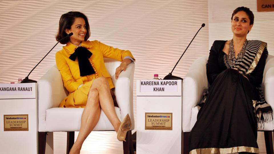 Bollywood actors Kareena Kapoor Khan and Kangana Ranaut during a session at the Hindustan Times Leadership Summit, 2015. While Ranaut said she gets into the skin of her characters, Khan admitted she was more of a switch-on and switch-off performer. (Ajay Agarwal/HT File Photo)