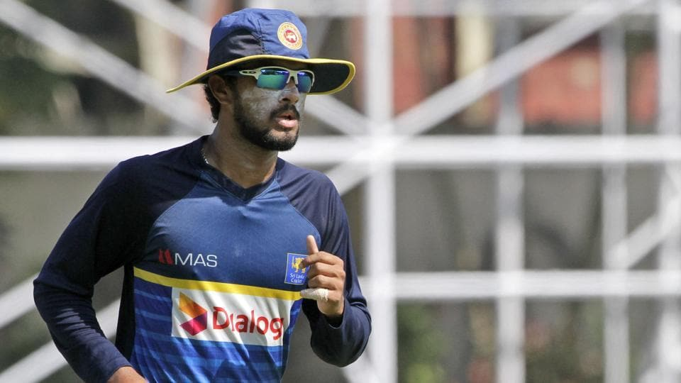 Dinesh Chandimal attends a practice session ahead of Sri Lanka's cricket series against India. (AP)