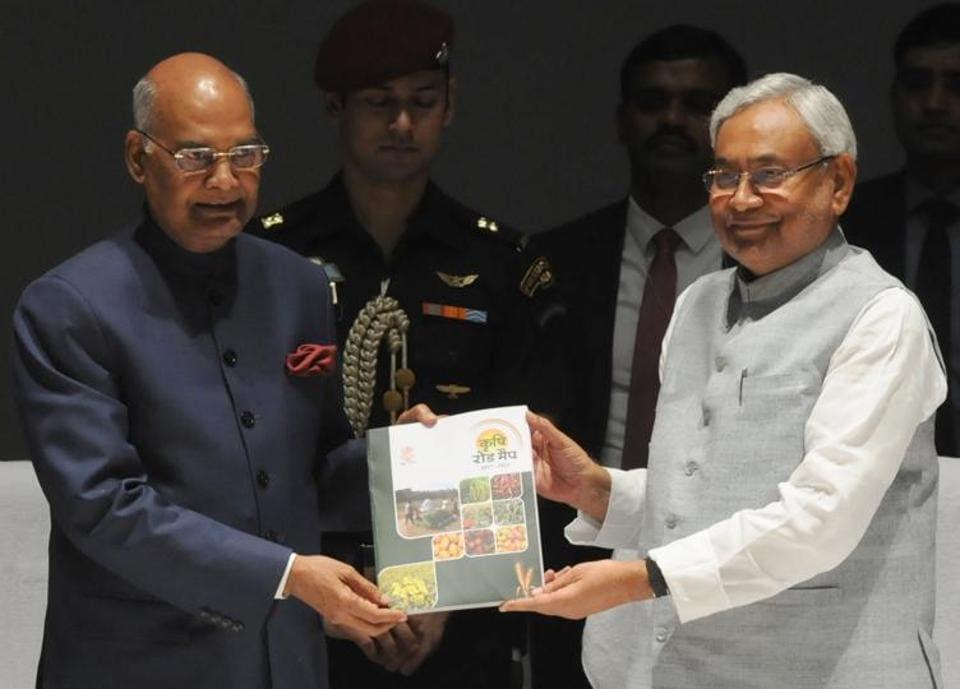 Prez  Ram Nath Kovind with CM Nitish Kumar, launching Bihar's 3rd agri roadmap, in Patna on Thursday.