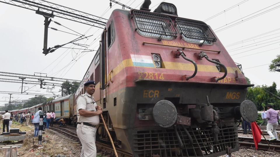 As the electric engine ran, the railway staff gave a chase to it on a motorbike.