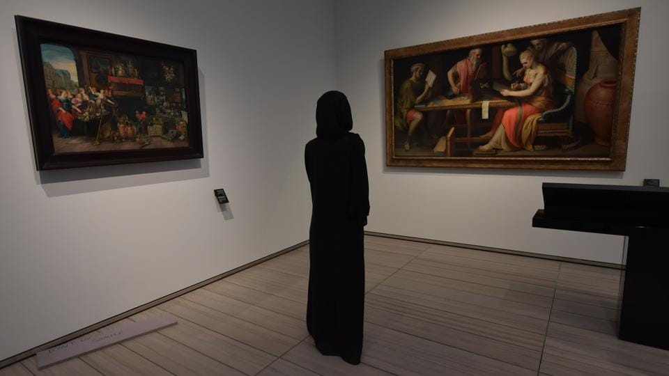 The conservative mores of Abu Dhabi, the more buttoned-up capital of the UAE, can be seen in the relative absence of pieces depicting nudity. Where seen, it is only lightly represented, either in bare breasts on an Italian dish or nude bronze ballerina statuettes by Edgar Degas, seemingly dancing in the line of sight of James McNeill Whistler's painting of his mother. (Guiseppe Cacace / AFP)