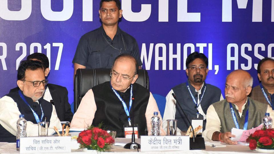 Union finance minister Arun Jaitley along with MoS for finance Shiv Pratap Shukla and finance secretary Hasmukh Adhia (left) at the 23rd GST Council Meeting, in Guwahati on Friday.