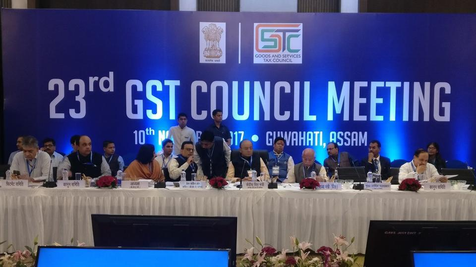 Finance minister Arun Jaitley chairs the 23rd GST Council meeting in Guwahati on Friday. (ANITwitter)