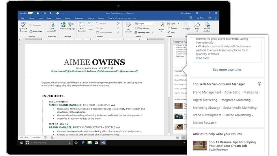 linkedin introduces resume assistant for microsoft word