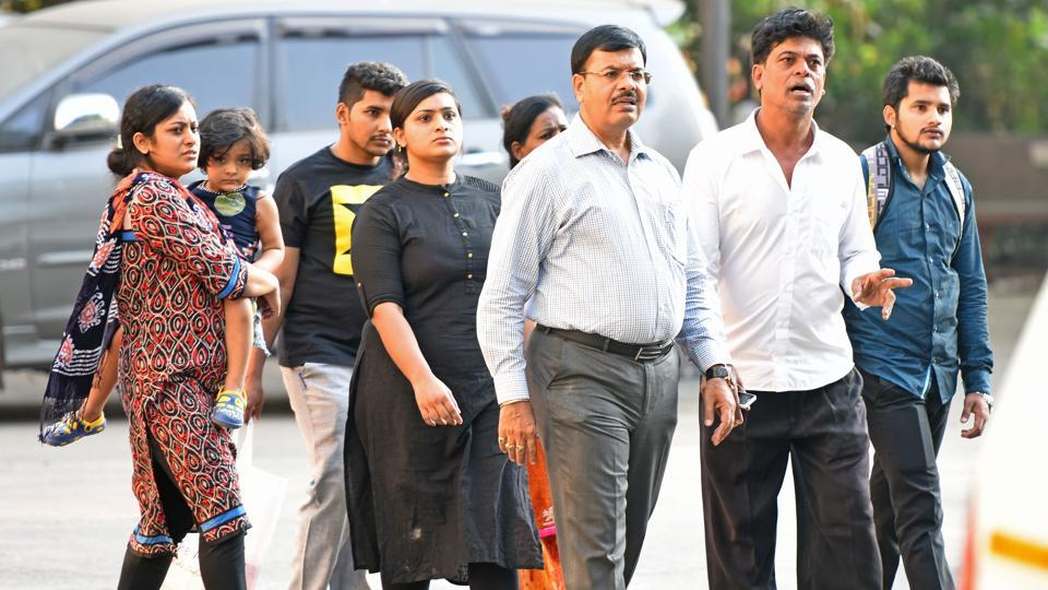 Family members of the doctor who committed suicide at Siddharth hospital,Goregaon, on Thursday.